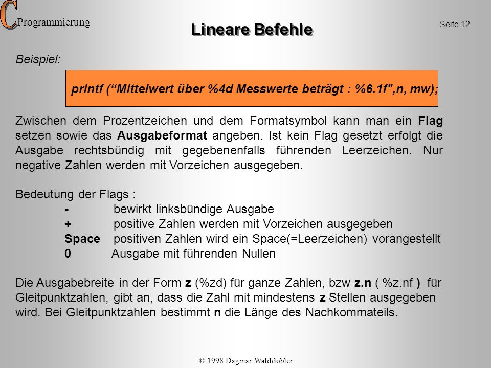 Lineare Befehle Beispiel: