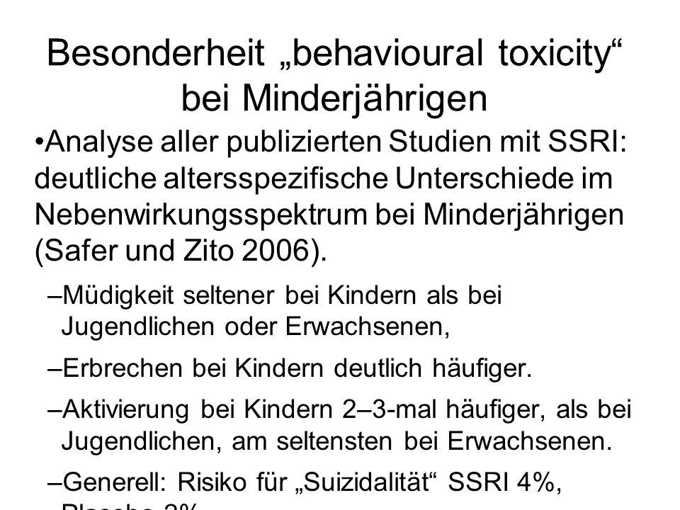 """Besonderheit """"behavioural toxicity bei Minderjährigen"""