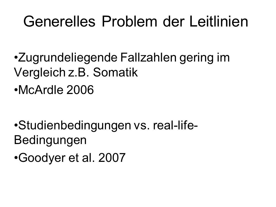 Generelles Problem der Leitlinien