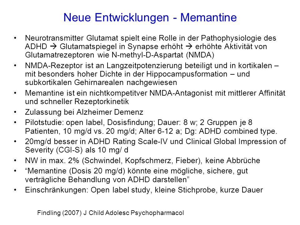 Neue Entwicklungen - Memantine