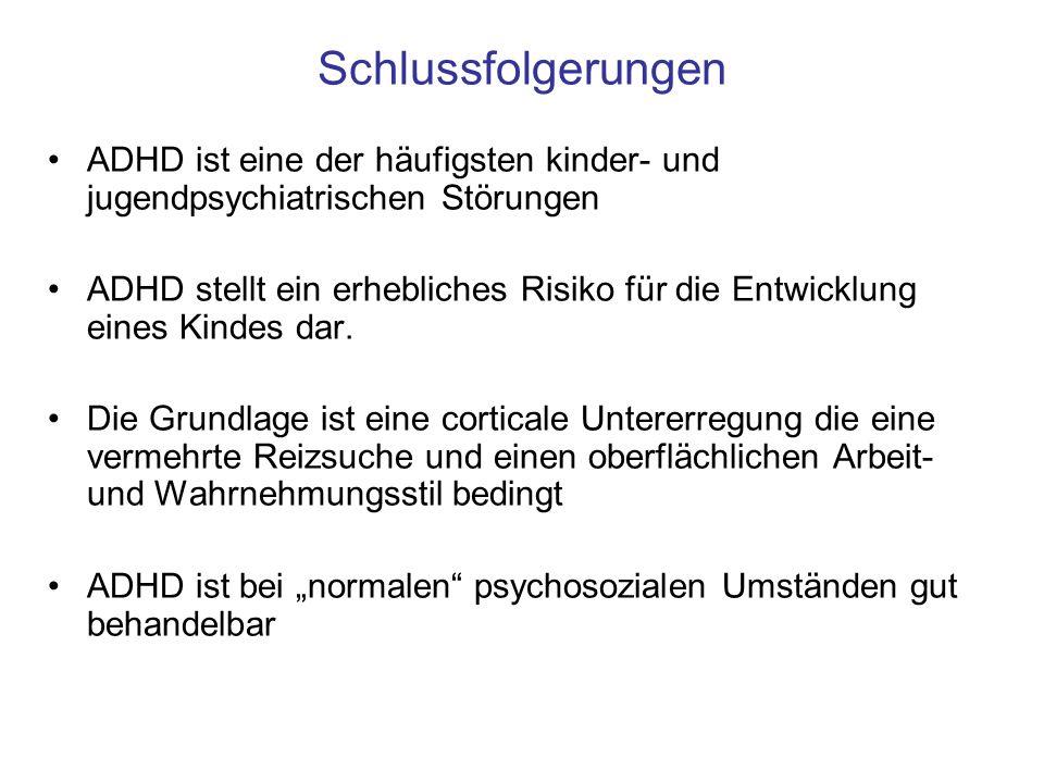 Schlussfolgerungen ADHD ist eine der häufigsten kinder- und jugendpsychiatrischen Störungen.