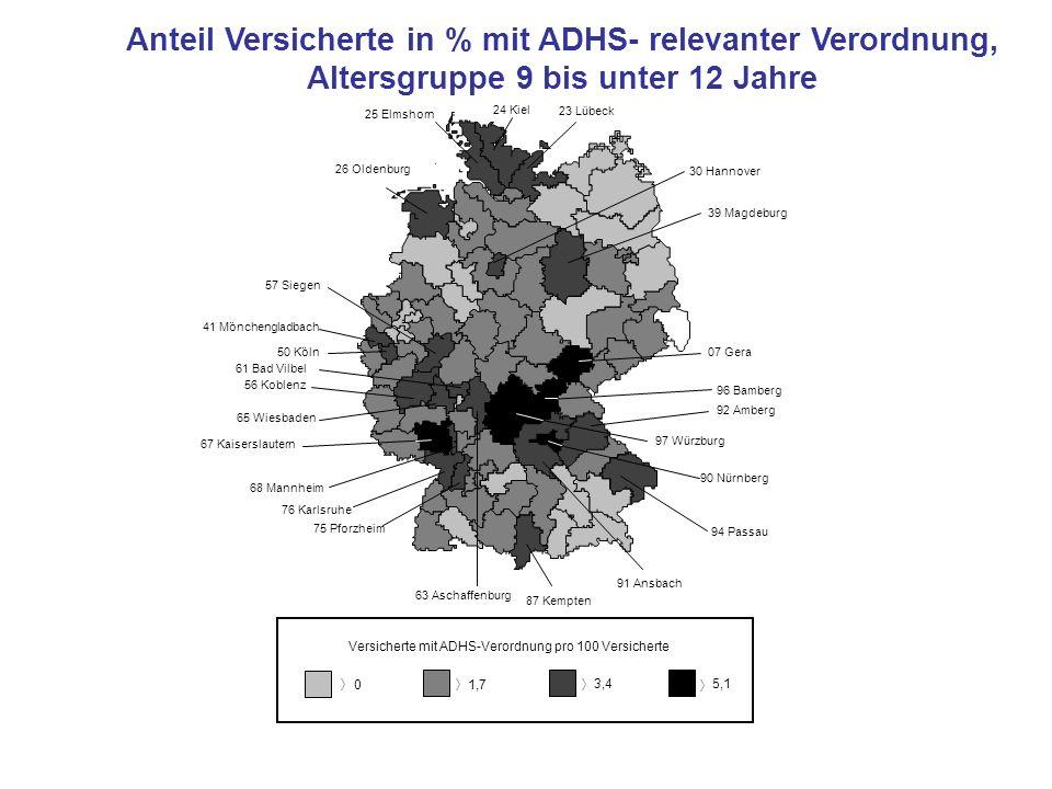 Anteil Versicherte in % mit ADHS- relevanter Verordnung,