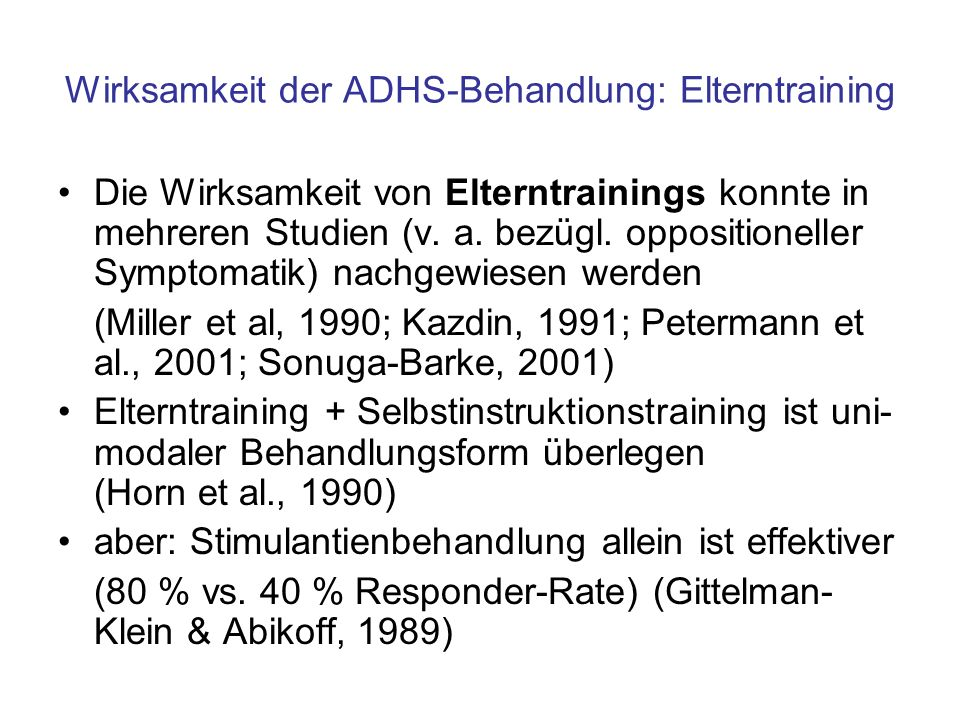 Wirksamkeit der ADHS-Behandlung: Elterntraining