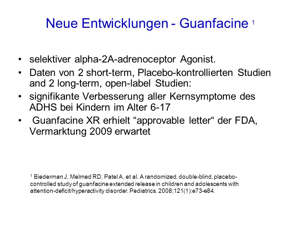 Neue Entwicklungen - Guanfacine 1