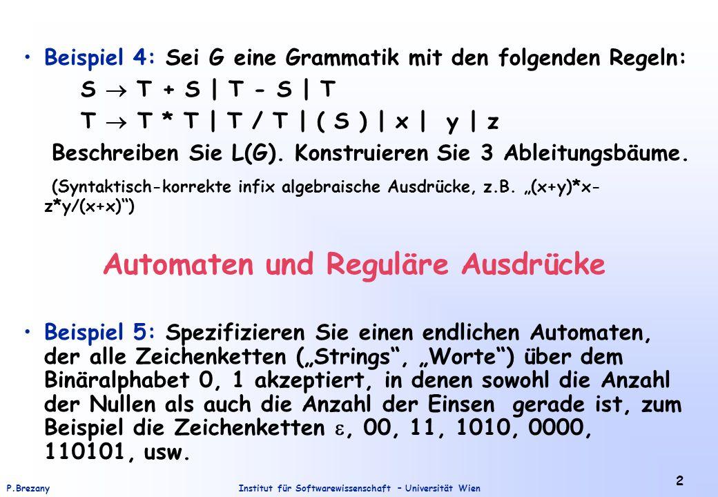 Beispiel 4: Sei G eine Grammatik mit den folgenden Regeln: