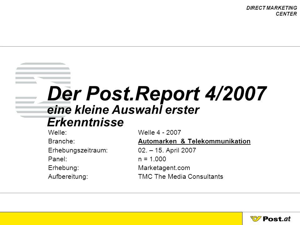 Der Post.Report 4/2007 eine kleine Auswahl erster Erkenntnisse