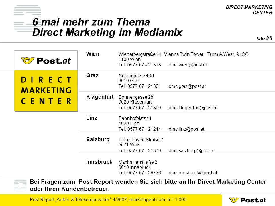 6 mal mehr zum Thema Direct Marketing im Mediamix