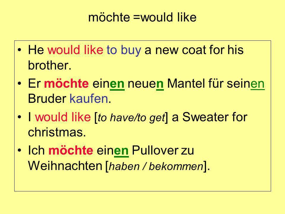 möchte =would like He would like to buy a new coat for his brother. Er möchte einen neuen Mantel für seinen Bruder kaufen.