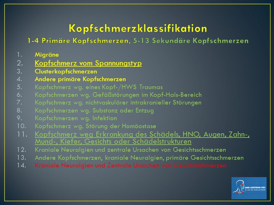 Kopfschmerzklassifikation 1-4 Primäre Kopfschmerzen, 5-13 Sekundäre Kopfschmerzen