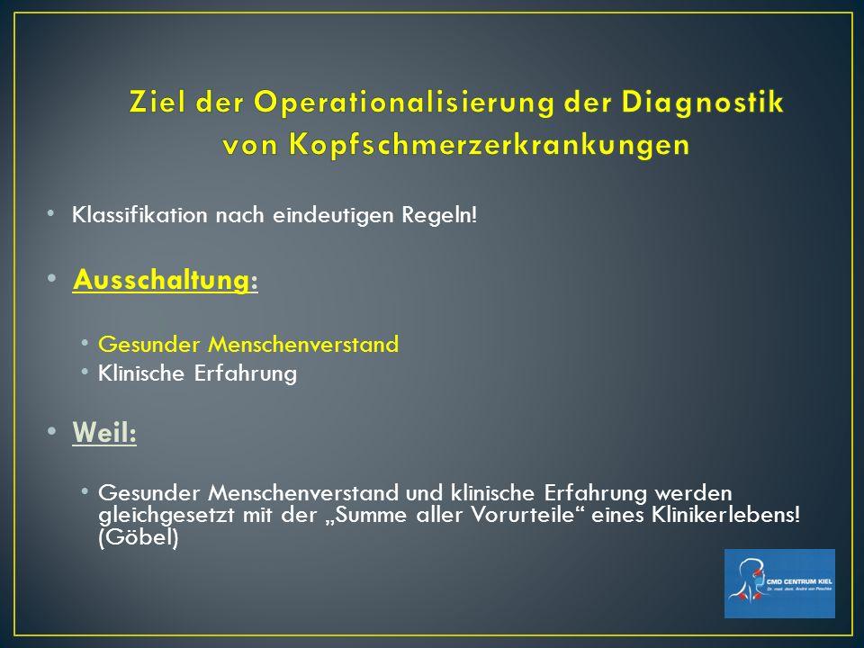 Ziel der Operationalisierung der Diagnostik von Kopfschmerzerkrankungen