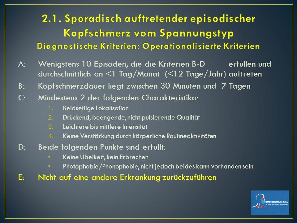 2.1. Sporadisch auftretender episodischer Kopfschmerz vom Spannungstyp Diagnostische Kriterien: Operationalisierte Kriterien