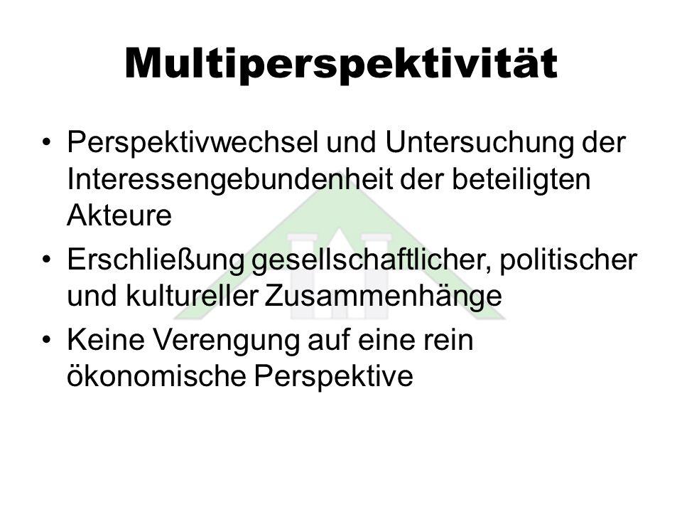 Multiperspektivität Perspektivwechsel und Untersuchung der Interessengebundenheit der beteiligten Akteure.