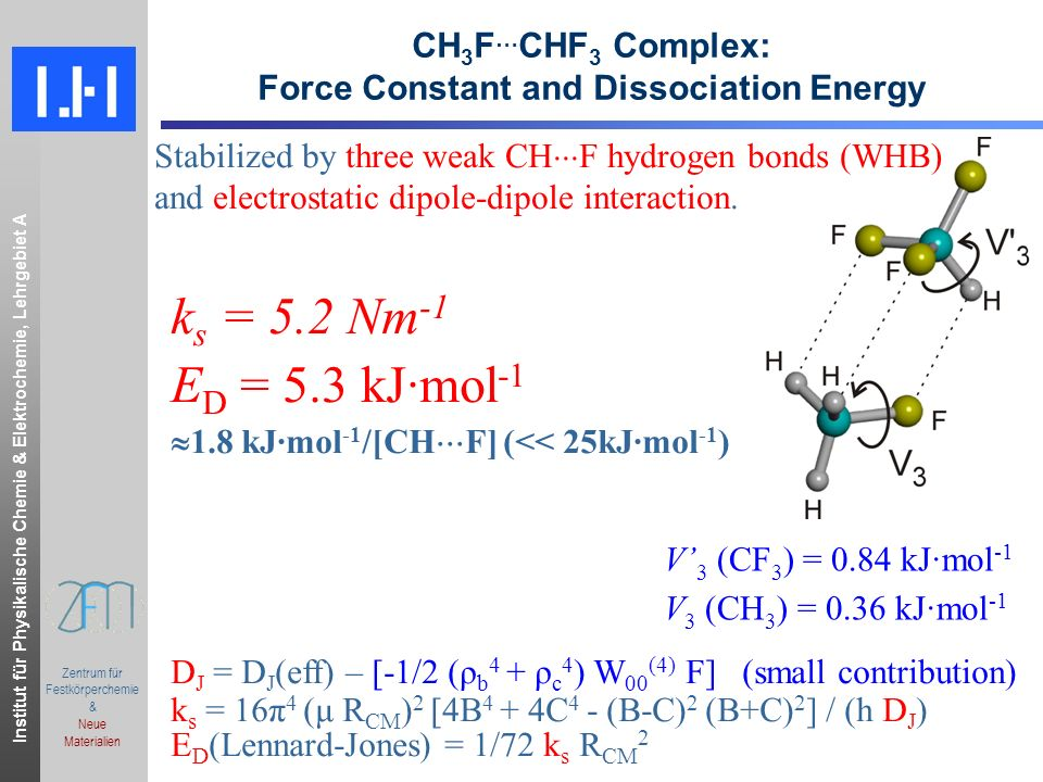 CH3F…CHF3 Complex: Force Constant and Dissociation Energy