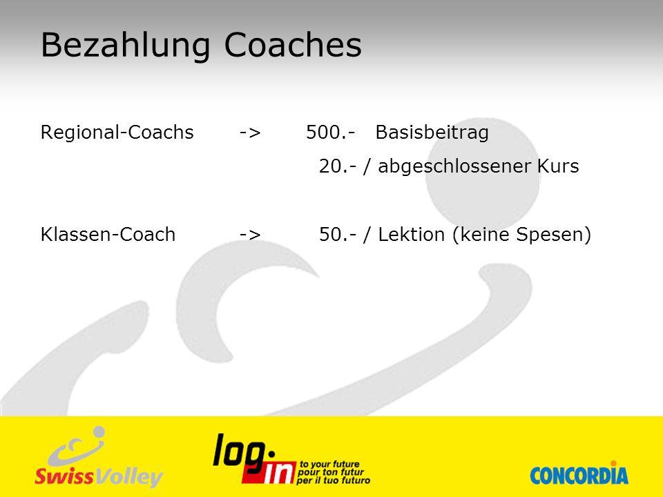 Bezahlung Coaches Regional-Coachs -> 500.- Basisbeitrag