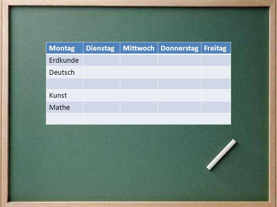 Montag Dienstag Mittwoch Donnerstag Freitag Erdkunde Deutsch Kunst Mathe