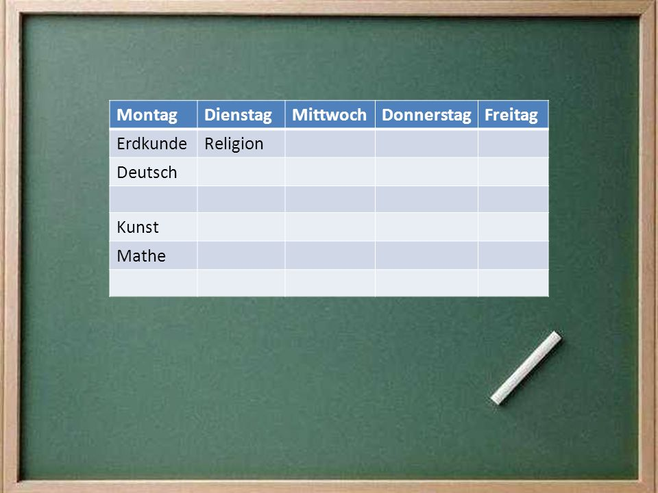 Montag Dienstag Mittwoch Donnerstag Freitag Erdkunde Religion Deutsch Kunst Mathe