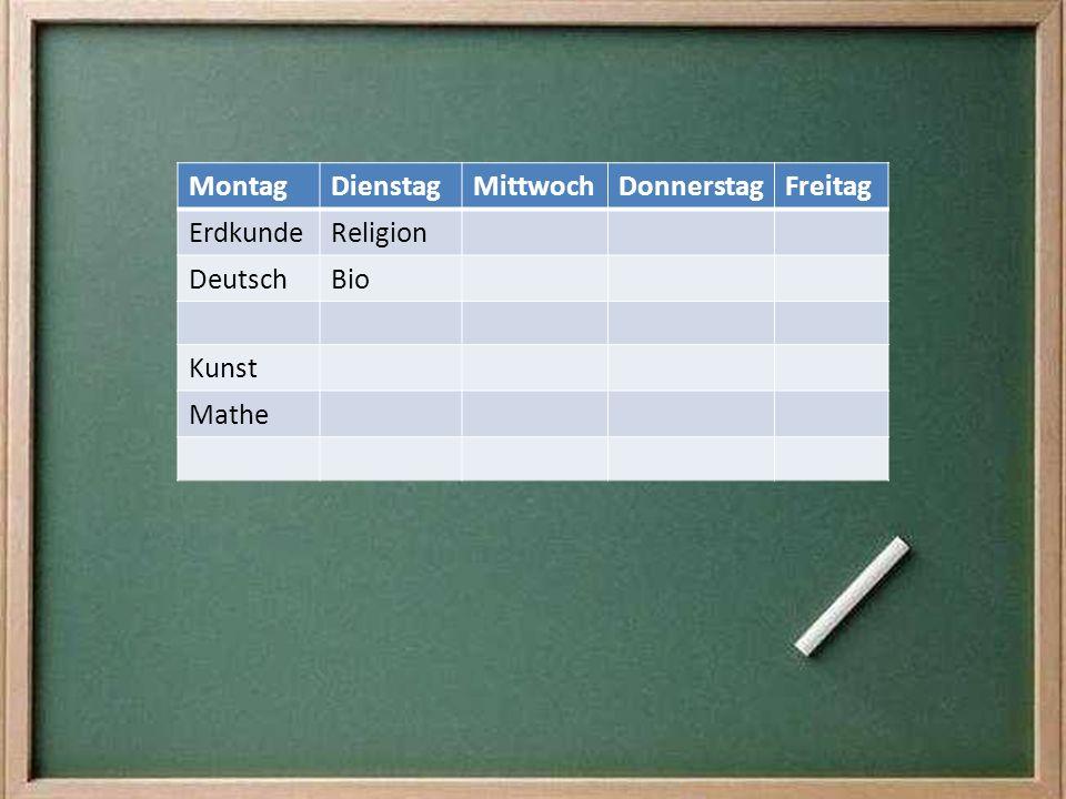 Montag Dienstag Mittwoch Donnerstag Freitag Erdkunde Religion Deutsch Bio Kunst Mathe