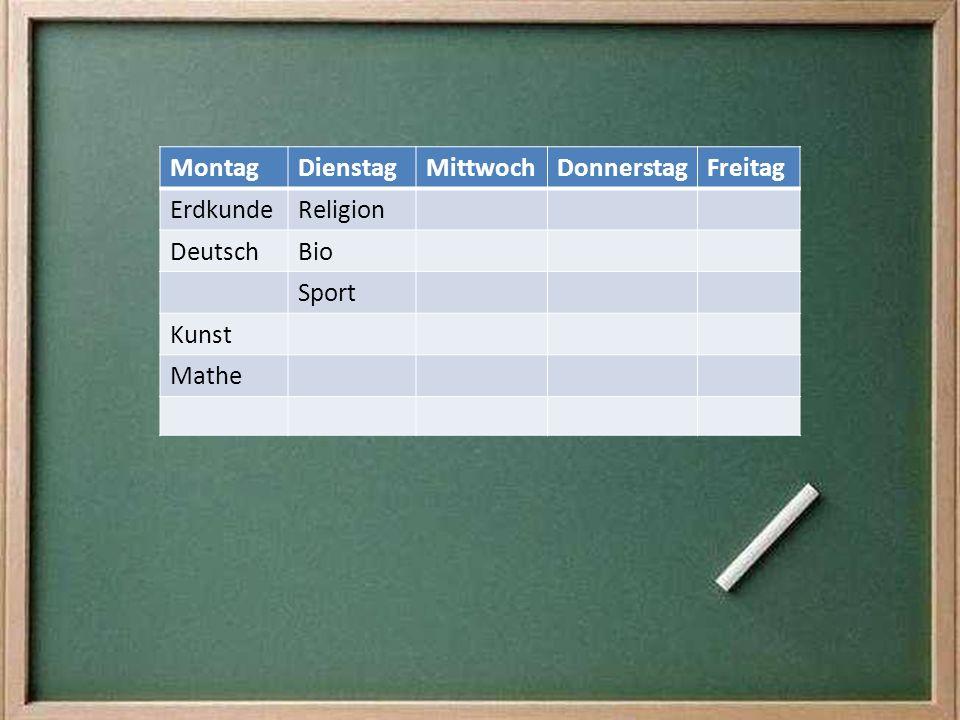 Montag Dienstag Mittwoch Donnerstag Freitag Erdkunde Religion Deutsch Bio Sport Kunst Mathe