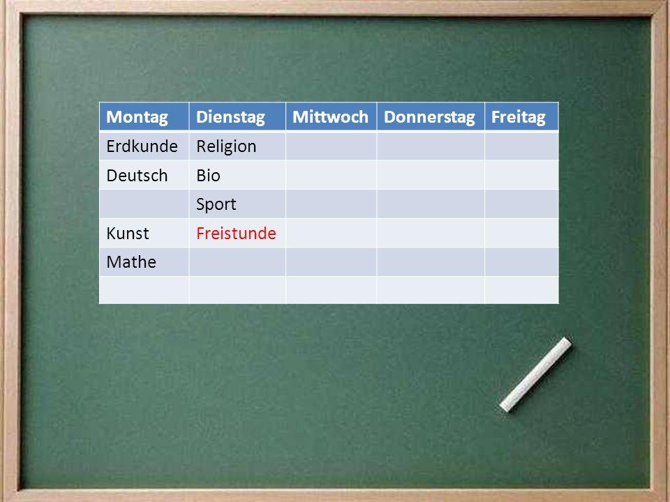 Montag Dienstag. Mittwoch. Donnerstag. Freitag. Erdkunde. Religion. Deutsch. Bio. Sport. Kunst.