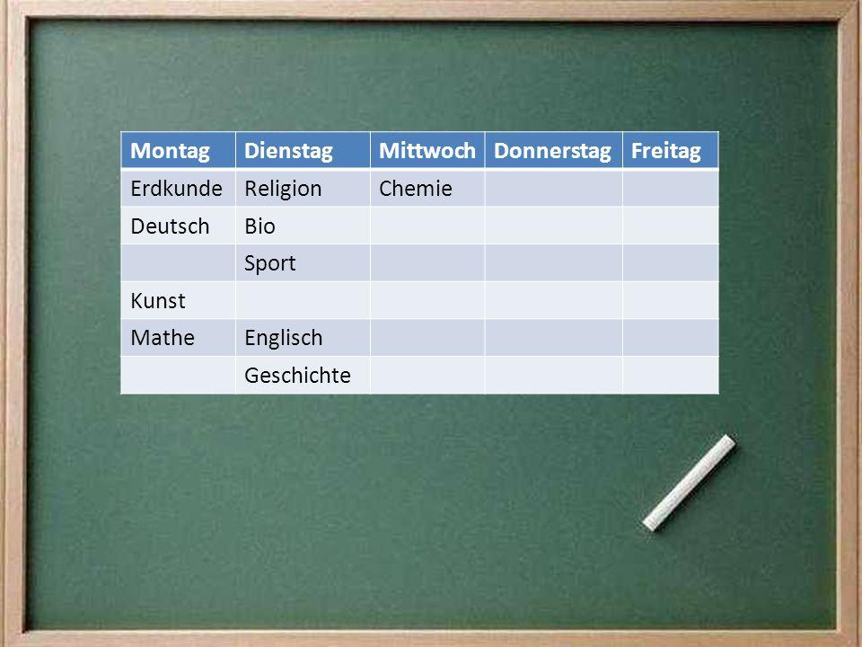 Montag Dienstag. Mittwoch. Donnerstag. Freitag. Erdkunde. Religion. Chemie. Deutsch. Bio. Sport.
