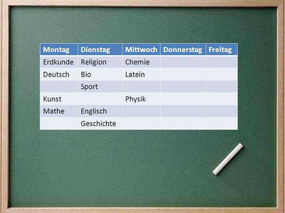 Montag Dienstag. Mittwoch. Donnerstag. Freitag. Erdkunde. Religion. Chemie. Deutsch. Bio. Latein.