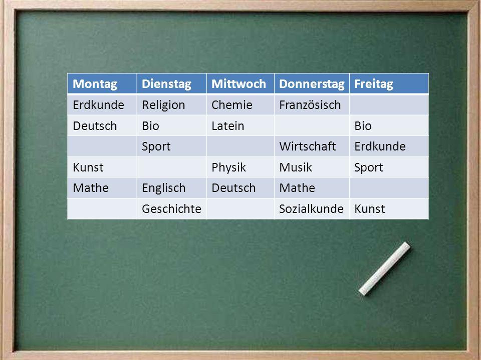 Montag Dienstag. Mittwoch. Donnerstag. Freitag. Erdkunde. Religion. Chemie. Französisch. Deutsch.