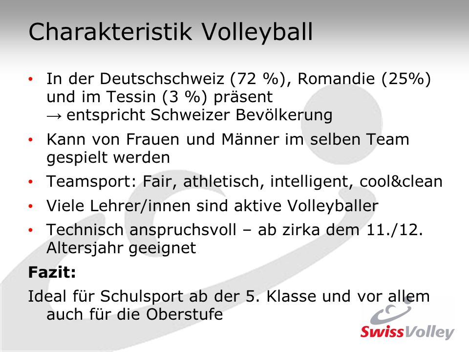 Charakteristik Volleyball
