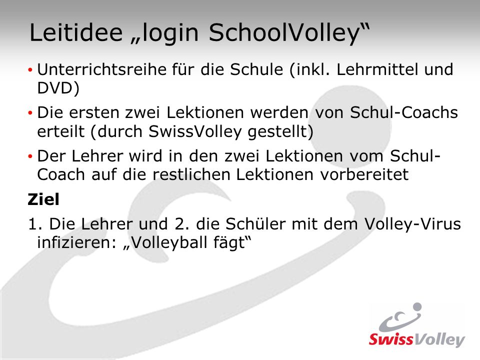 "Leitidee ""login SchoolVolley"