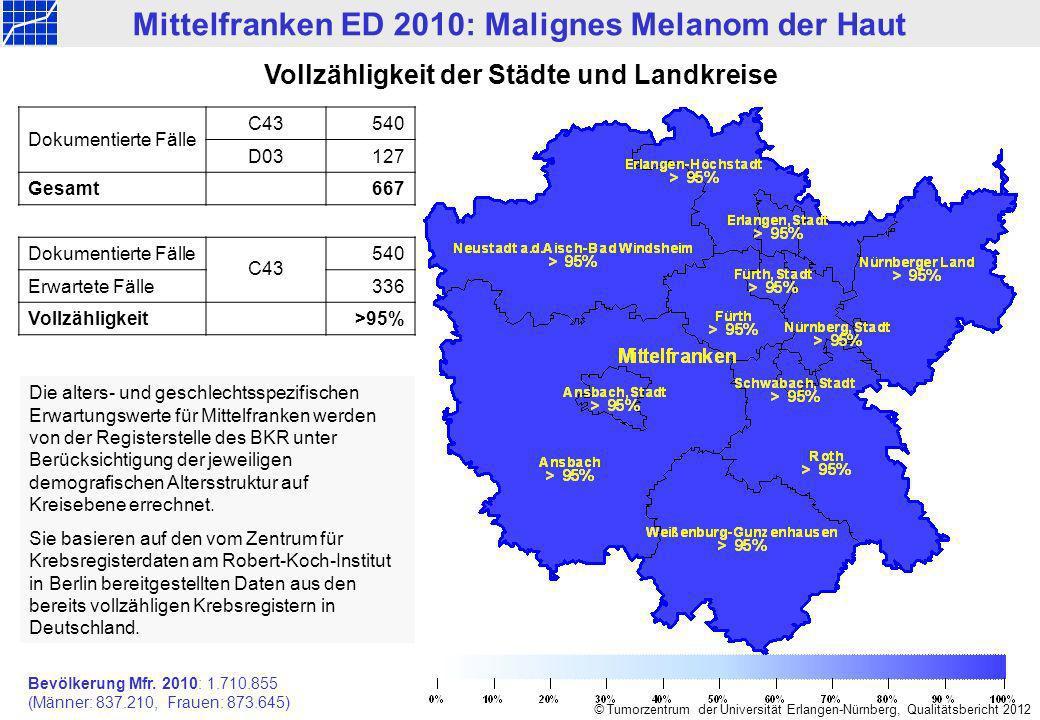 Mittelfranken ED 2010: Malignes Melanom der Haut