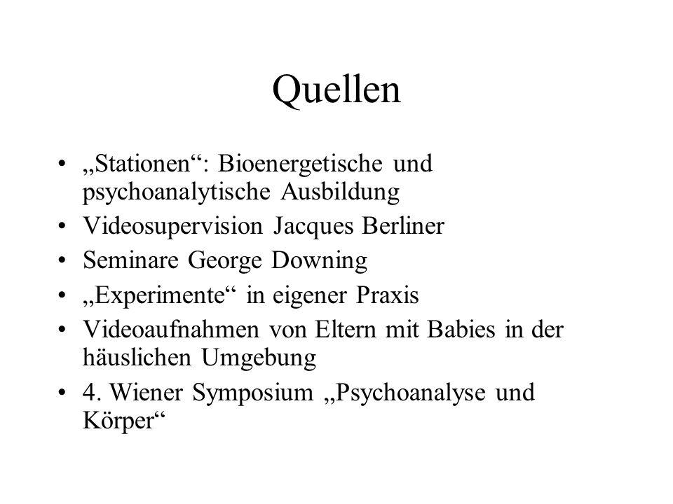 """Quellen """"Stationen : Bioenergetische und psychoanalytische Ausbildung"""