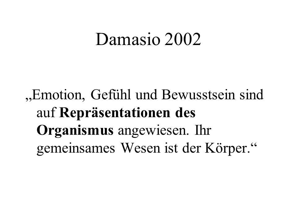 """Damasio 2002 """"Emotion, Gefühl und Bewusstsein sind auf Repräsentationen des Organismus angewiesen."""