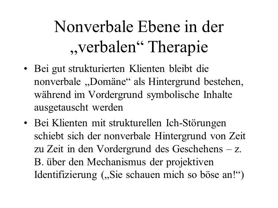 """Nonverbale Ebene in der """"verbalen Therapie"""