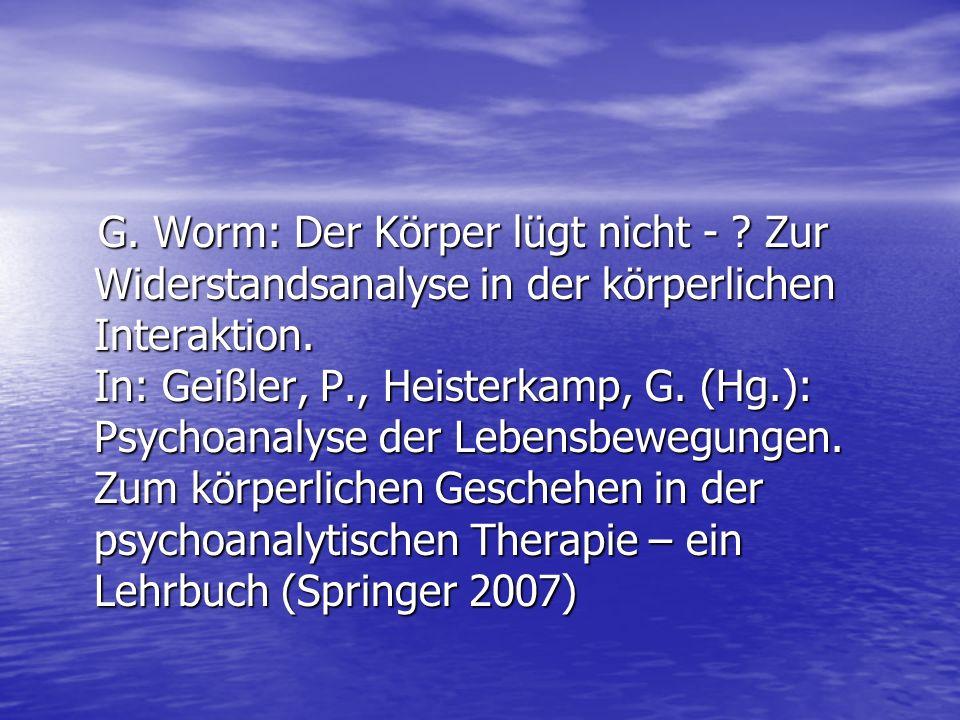 G. Worm: Der Körper lügt nicht -
