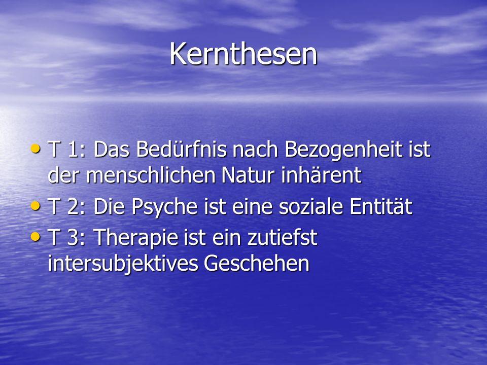 Kernthesen T 1: Das Bedürfnis nach Bezogenheit ist der menschlichen Natur inhärent. T 2: Die Psyche ist eine soziale Entität.
