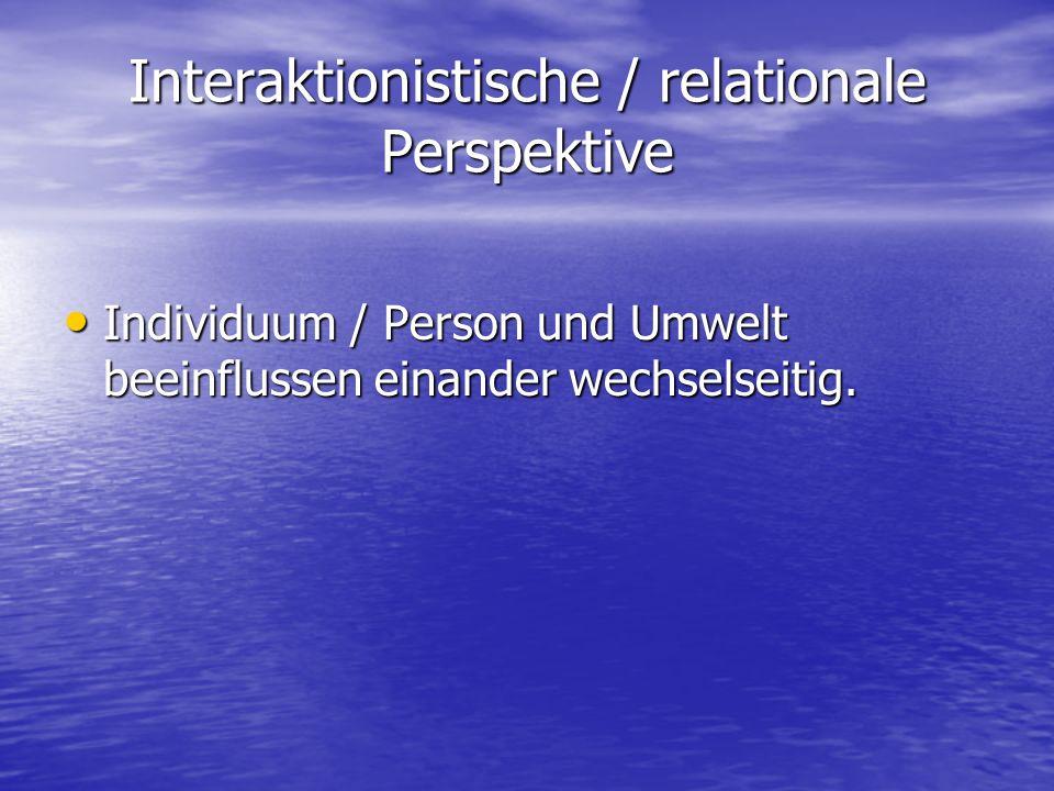 Interaktionistische / relationale Perspektive