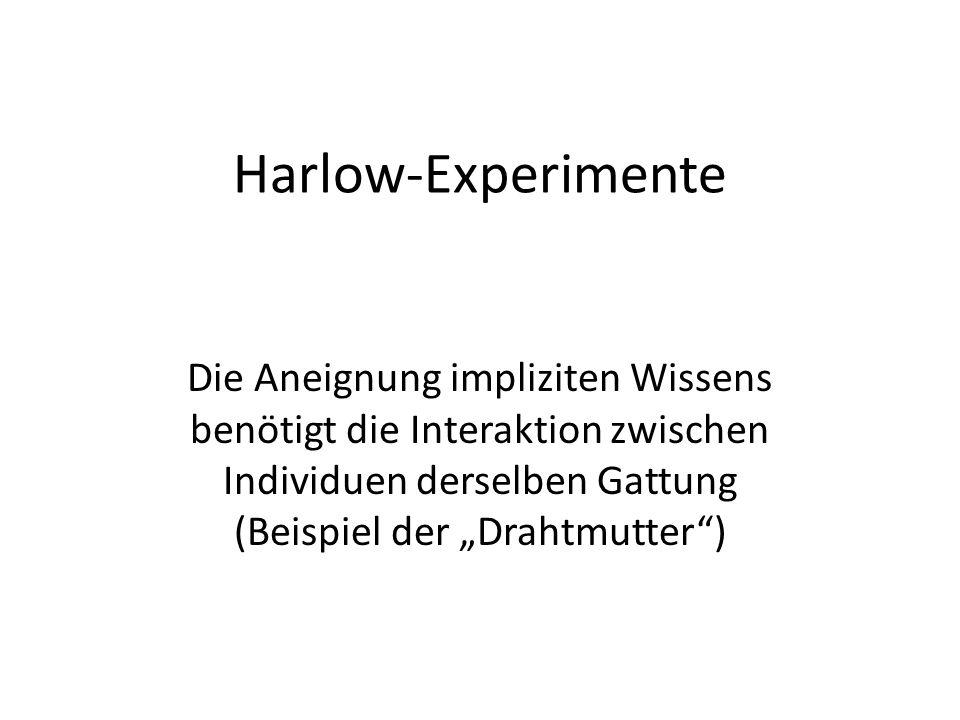 """Harlow-Experimente Die Aneignung impliziten Wissens benötigt die Interaktion zwischen Individuen derselben Gattung (Beispiel der """"Drahtmutter )"""