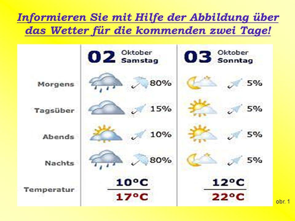 Informieren Sie mit Hilfe der Abbildung über das Wetter für die kommenden zwei Tage!
