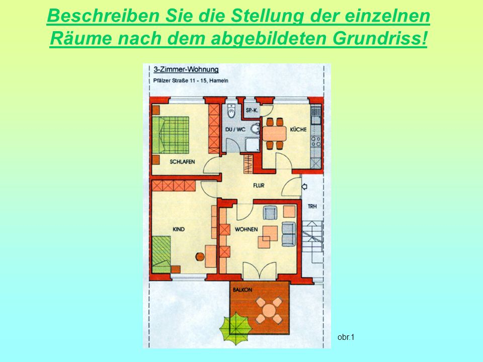 Beschreiben Sie die Stellung der einzelnen Räume nach dem abgebildeten Grundriss!