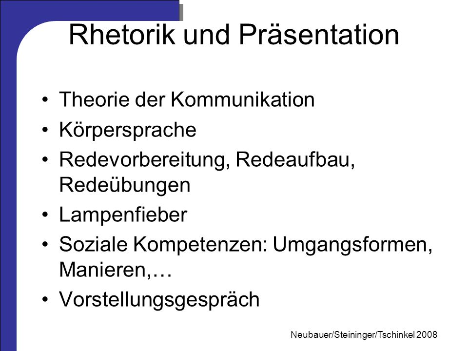Rhetorik und Präsentation