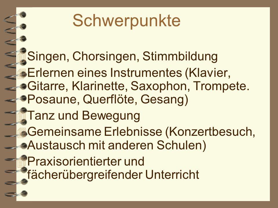 Schwerpunkte Singen, Chorsingen, Stimmbildung