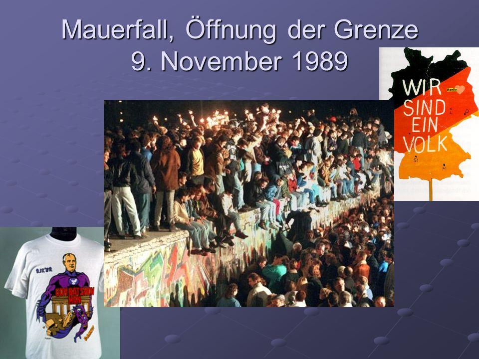 Mauerfall, Öffnung der Grenze 9. November 1989