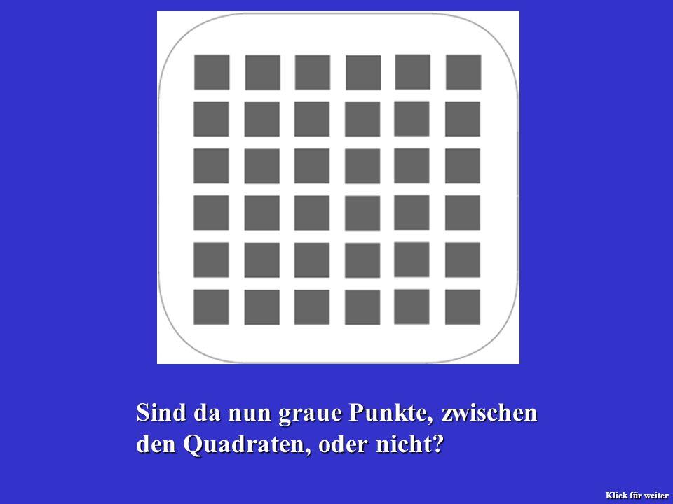 Sind da nun graue Punkte, zwischen den Quadraten, oder nicht