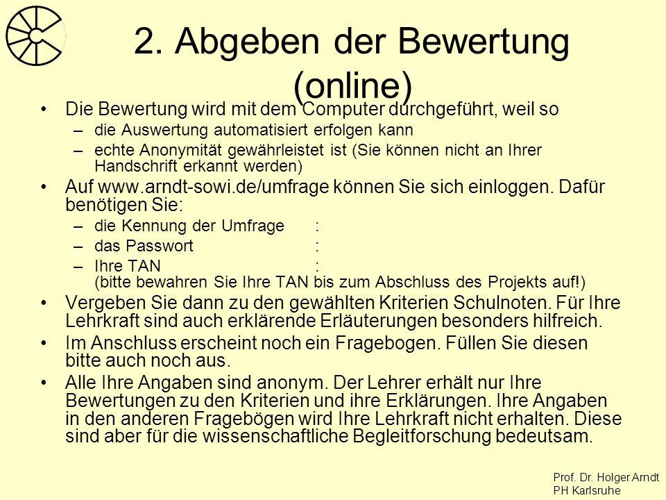 2. Abgeben der Bewertung (online)