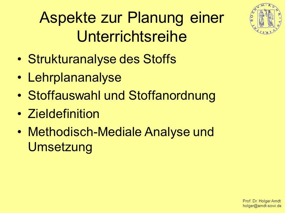Aspekte zur Planung einer Unterrichtsreihe