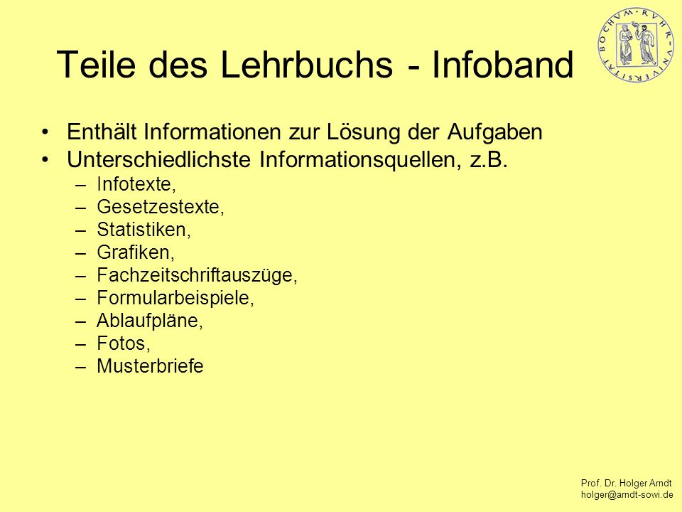 Teile des Lehrbuchs - Infoband