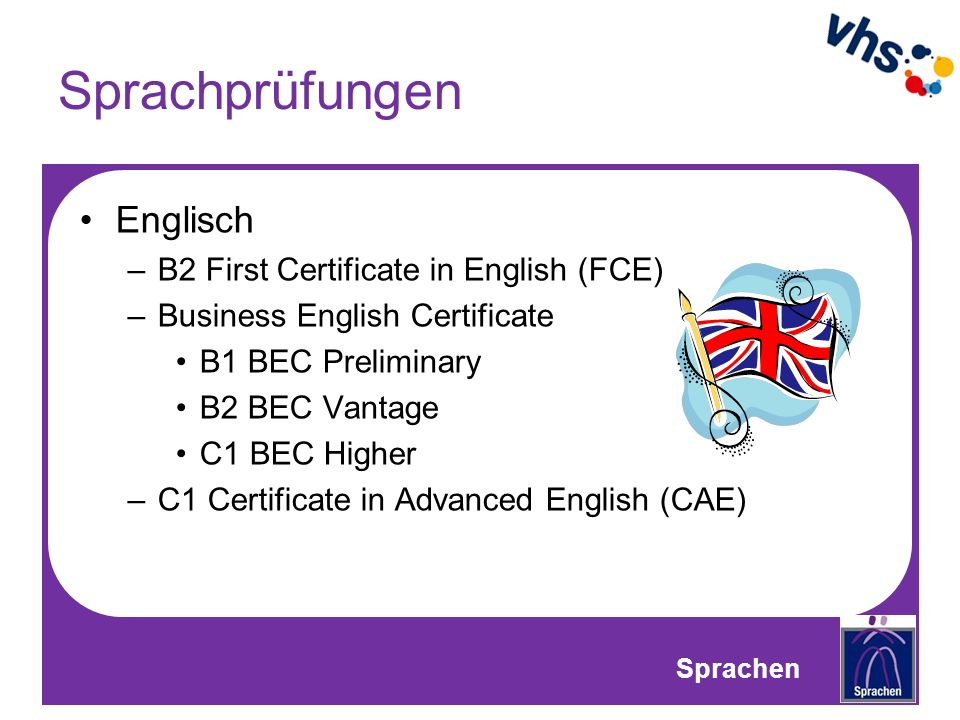 Sprachprüfungen Englisch B2 First Certificate in English (FCE)