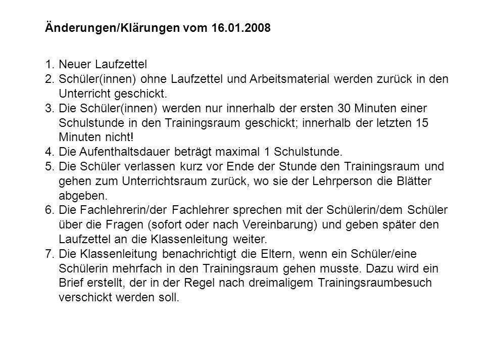 Änderungen/Klärungen vom 16.01.2008