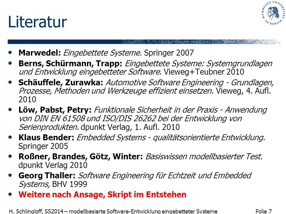 Literatur Marwedel: Eingebettete Systeme. Springer 2007