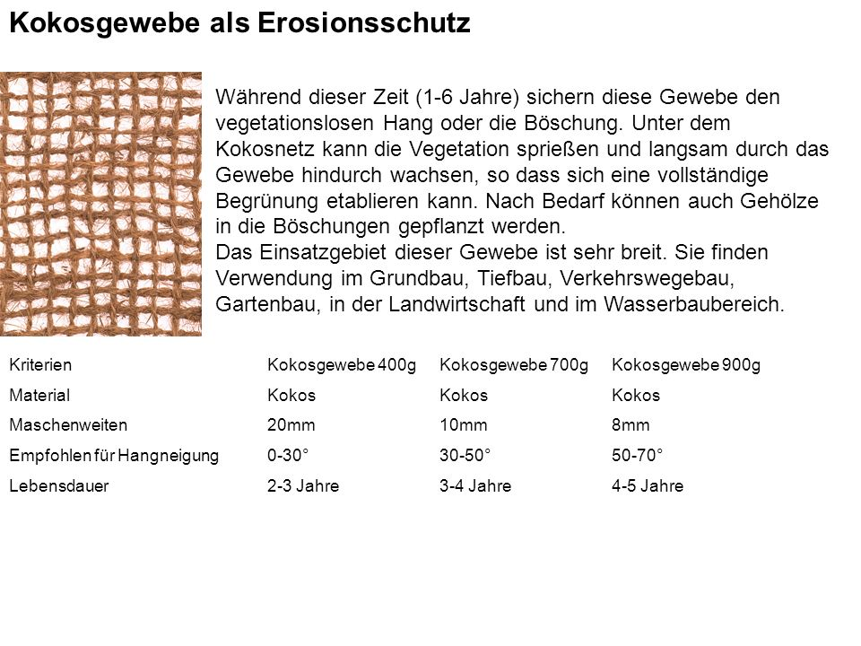 Kokosgewebe als Erosionsschutz