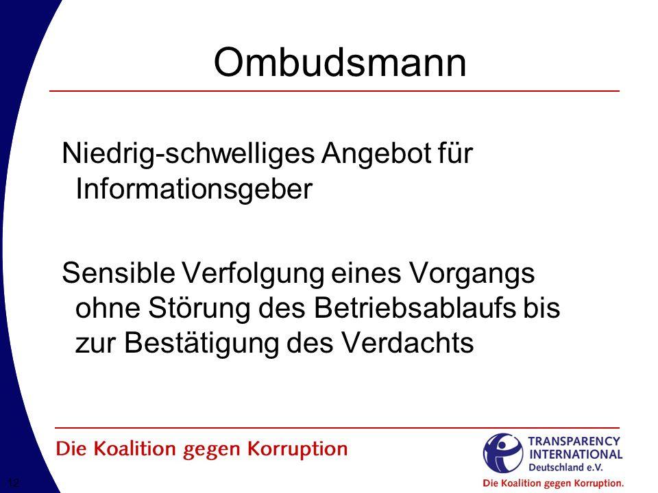 Ombudsmann Niedrig-schwelliges Angebot für Informationsgeber